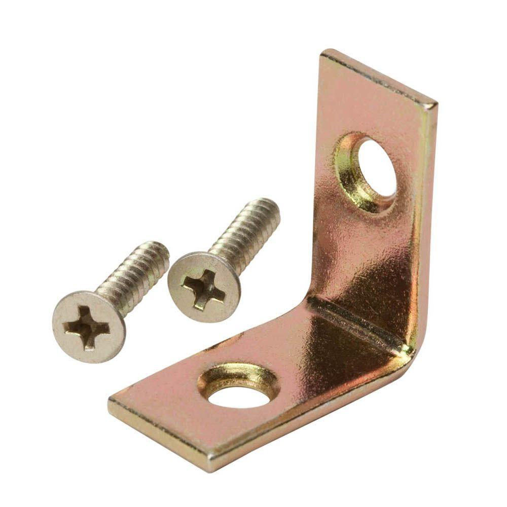 1 in. Satin Brass Corner Brace (4-Pack)