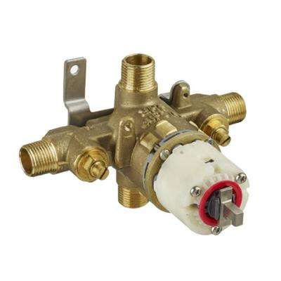 1/2 in. Pressure Balance Rough Valve with Universal Inlets and Outlets with Screwdriver Stops