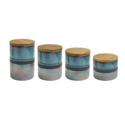 Abingdon 4-Piece Green/Silver Ceramic Canister Set with Lid