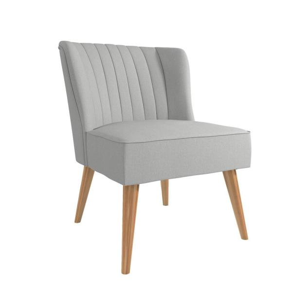 Brittany Light Gray Linen Upholstered Accent Chair