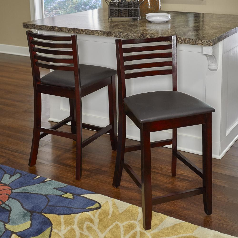Superb Linon Home Decor Triena 24 In Rich Espresso Cushioned Bar Frankydiablos Diy Chair Ideas Frankydiabloscom
