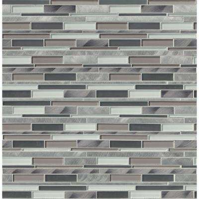 12 in. x 12 in. x 8mm Cityscape Interlocking Textured Glass and Metal Mesh-Mounted Mosaic Wall Tile (10 sq. ft./case)