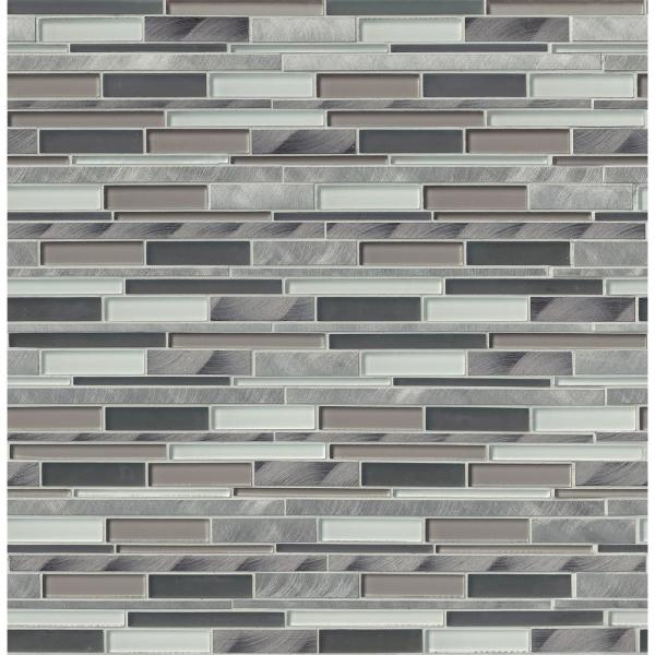 12 in. x 12 in. x 8mm Cityscape Interlocking Glass and Metal Mesh-Mounted Mosaic Wall Tile (10 sq. ft./case)