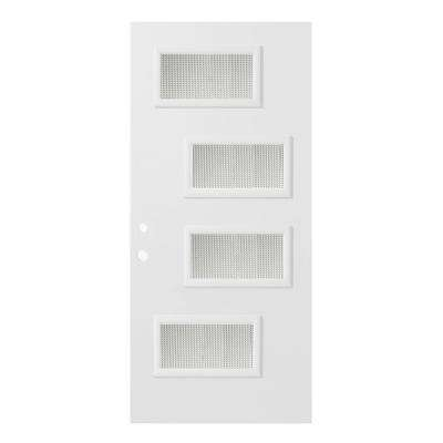 37.375 in. x 82.375 in. Beatrice Gingoshi 4 Lite Painted White Right-Hand Inswing Steel Prehung Front Door