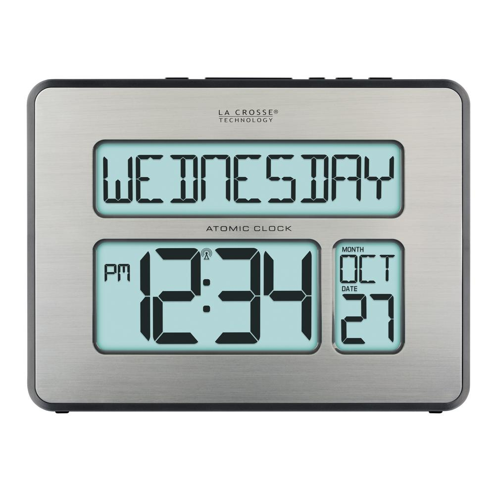 LaCrosseTechnology La Crosse Technology Atomic Full Calendar Digital Clock with Extra Large Digits - Perfect Gift for the Elderly, Silver