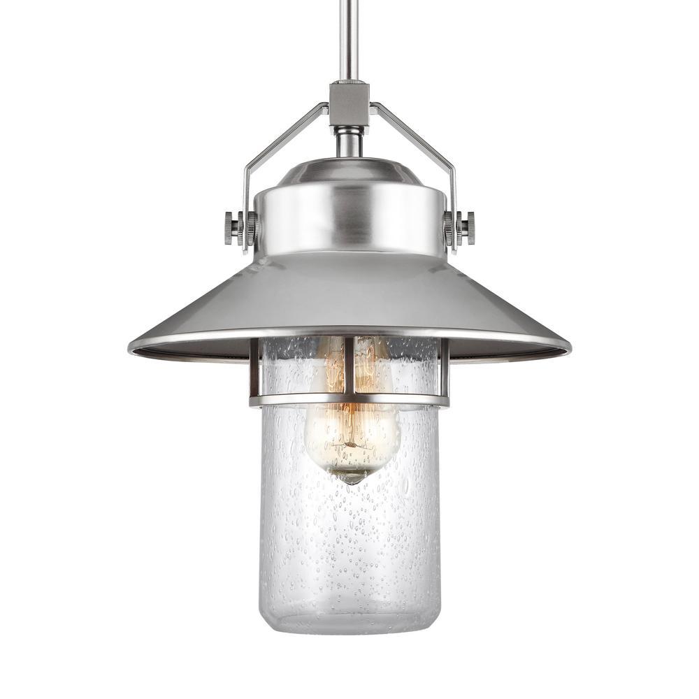 Boynton 1-Light Painted Brushed Steel Finish Medium Outdoor Hanging Pendant