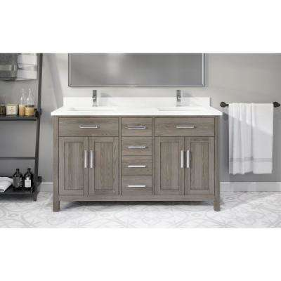 Kali 60 in. W x 22 in. D Bath Vanity in Gray ENGRD Stone Vanity Top in White with White Basin Power Bar and Organizer