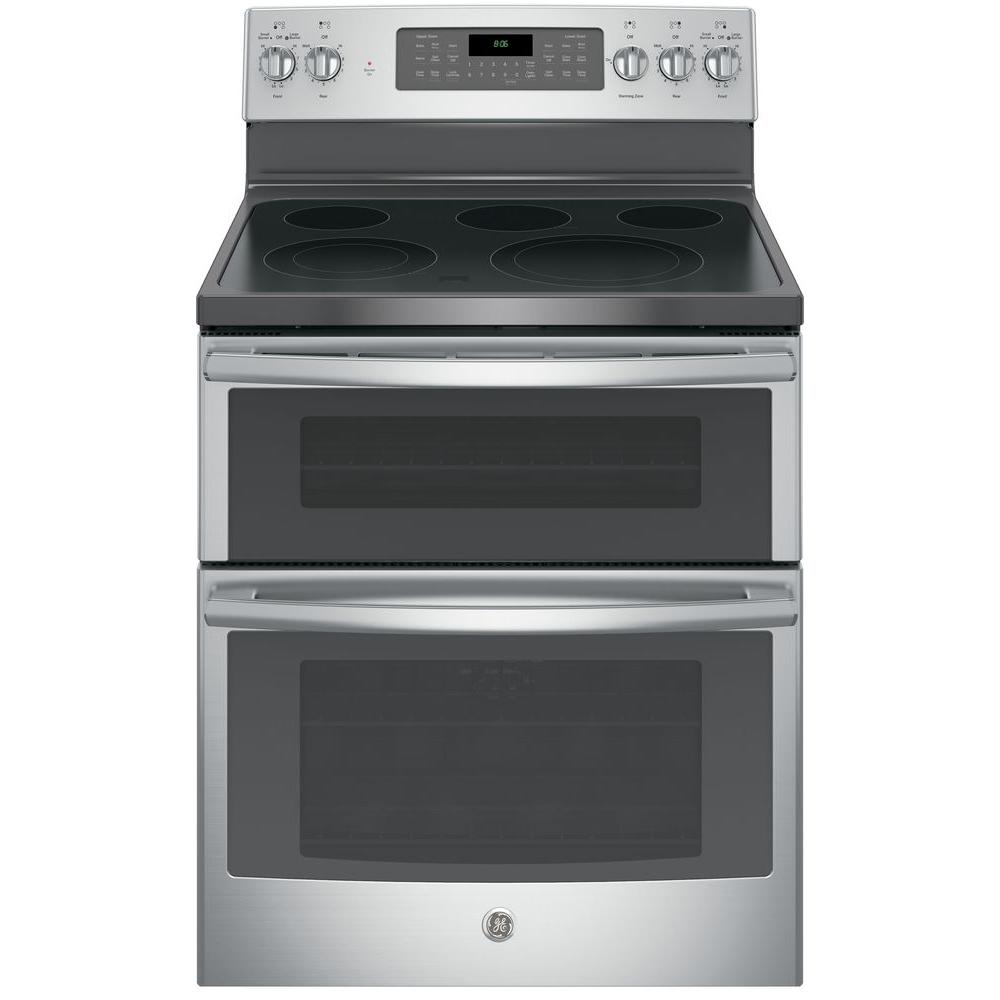 Ge 6 Cu Ft Double Oven Electric Range With Self Cleaning And Convection Lower In Stainless Steel