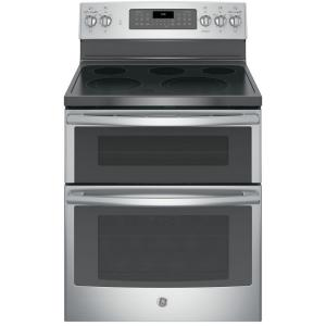 Click here to buy GE 6.6 cu. ft. Double Oven Electric Range with Self-Cleaning Convection Oven (Lower Oven Only) in Stainless Steel by GE.