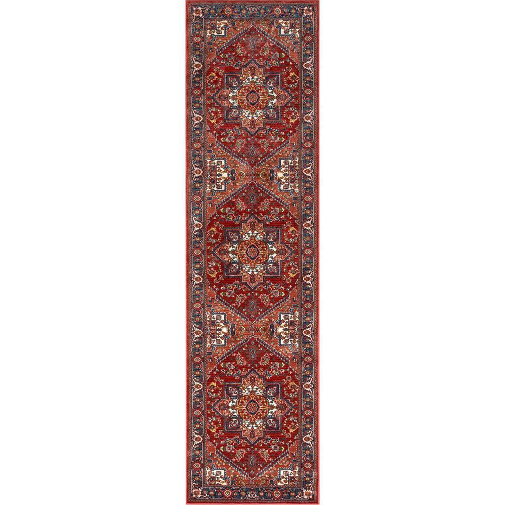 Tulsa Jackie Traditional Medallion Crimson/ Red 2 ft. 7 in. x 9 ft. 10 in. Runner Rug