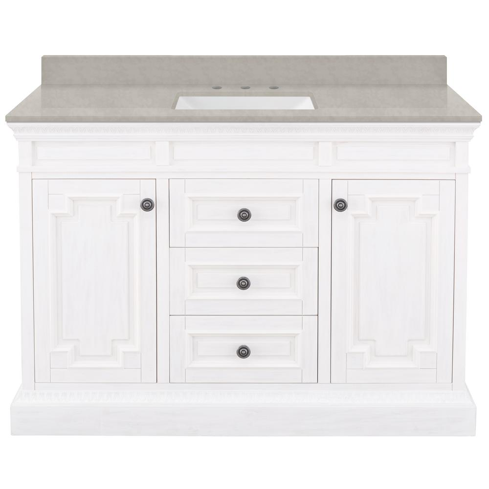 Home Decorators Collection Cailla 49 in. W x 22 in. D Bath Vanity in White with Engineered Marble Vanity Top in Dunescape with White Sink