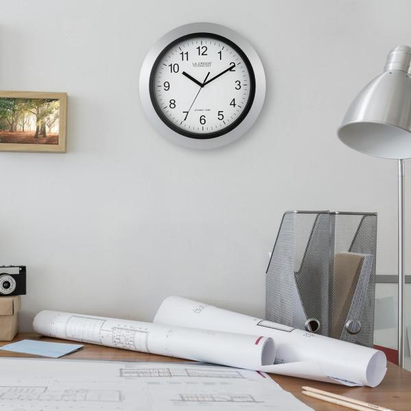 7e18bc50d189 La Crosse Technology 12 in. Round Atomic Analog Wall Clock in Silver ...