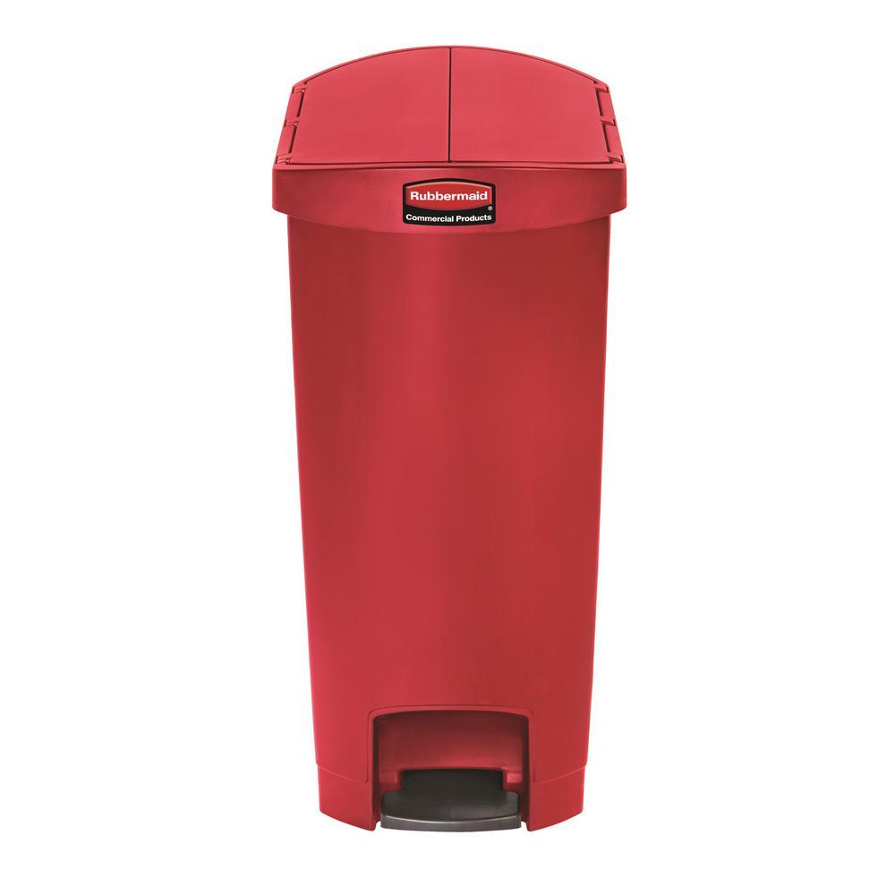 Slim Jim Step-On 13 Gal. Red Plastic End Step Trash Can