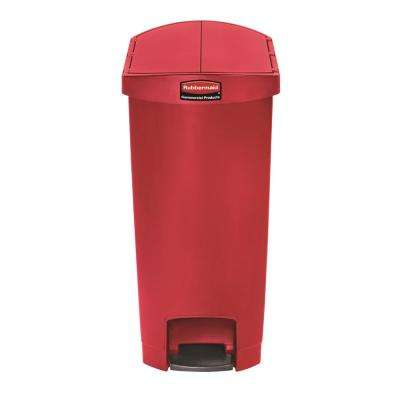 Slim Jim Step-On 13 Gal. Red Plastic End Step Trash Can