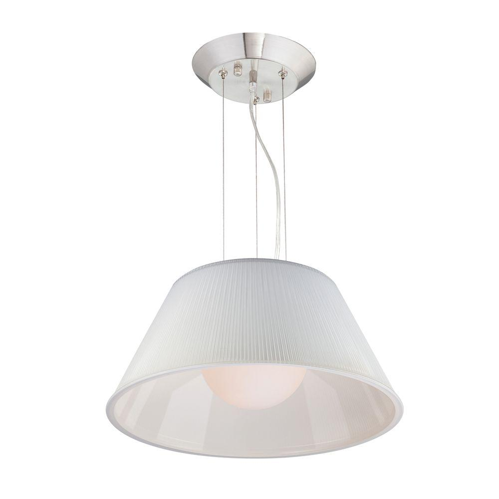 Ribo Collection 1-Light Chrome and White Large Pendant