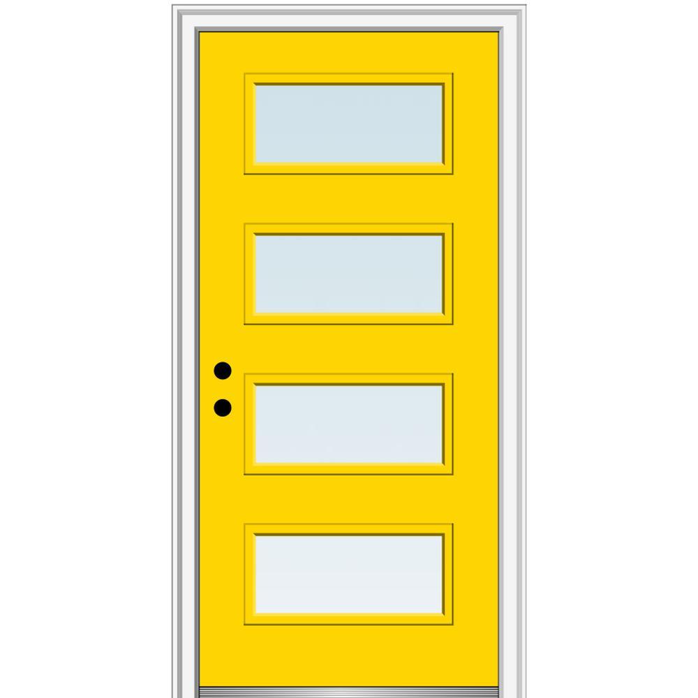 MMI Door 32 in. x 80 in. Celeste Low-E Glass Right-Hand Inswing 4-Lite Clear Painted Steel Prehung Front Door