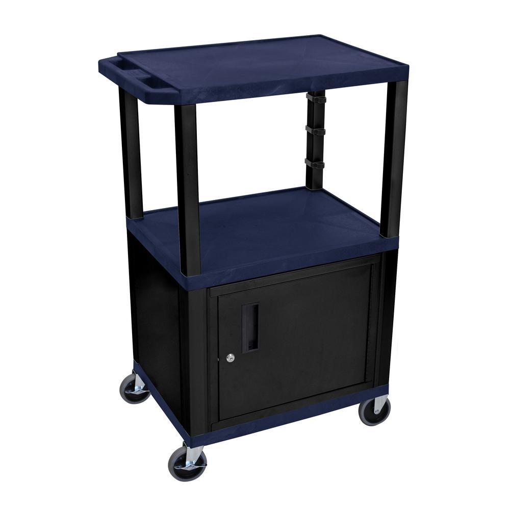 AV 42 ft. 3-Shelf Utility Cart with Cabinet - Navy Blue