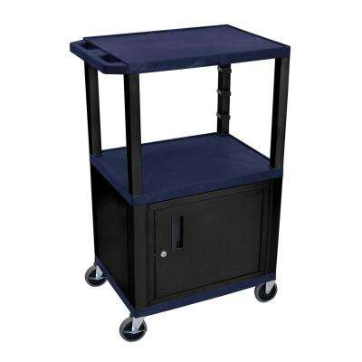 AV 42 ft. 3-Shelf Utility Cart with Cabinet - Navy Blue Shelves