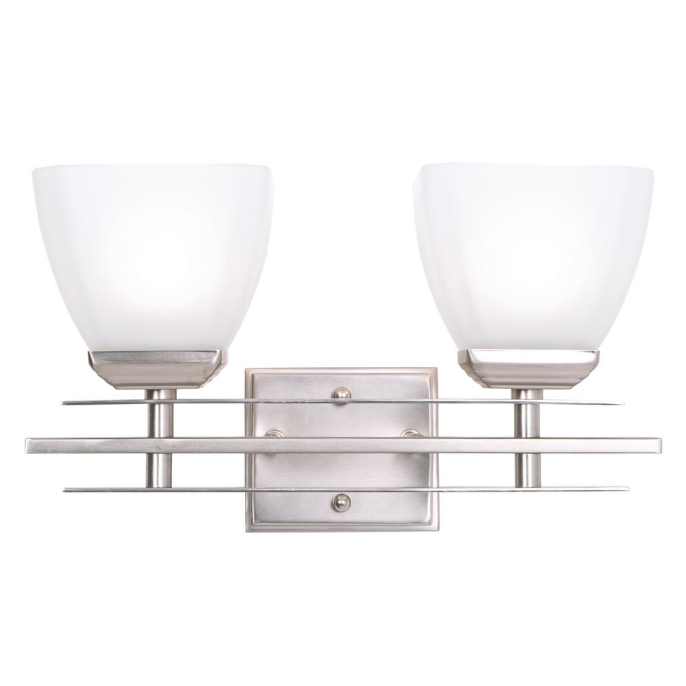 Yosemite Home Decor Half Dome 2-Light Satin Nickel Bathroom Vanity Light with White Frosted Glass Shade