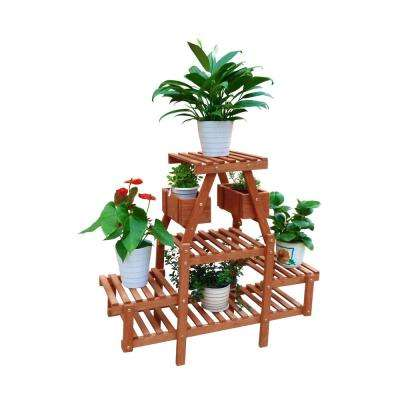 35 in. W x 13 in. D x 32 in. H Brown Wooden 4-Tier Plant Stand with Pot Holders