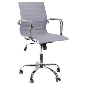 Remarkable Bold Tones Gray Modern Leather Swivel Office Chair With Lamtechconsult Wood Chair Design Ideas Lamtechconsultcom
