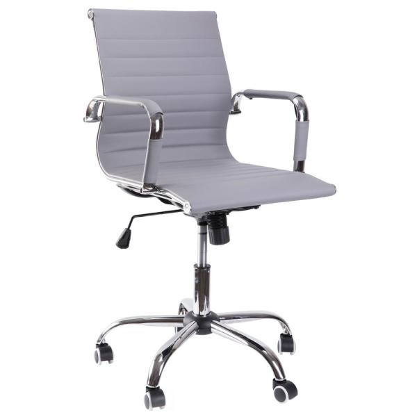 Gray Modern Leather Swivel Office Chair with Adjustable Height and Casters