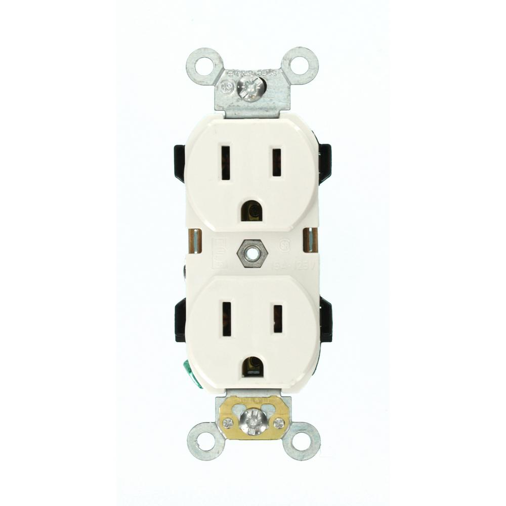 Leviton 15 Amp Industrial Grade Narrow Body Duplex Outlet White R72