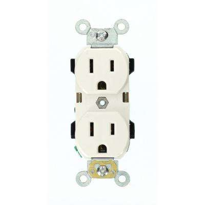15 Amp Industrial Grade Narrow-Body Duplex Outlet, White