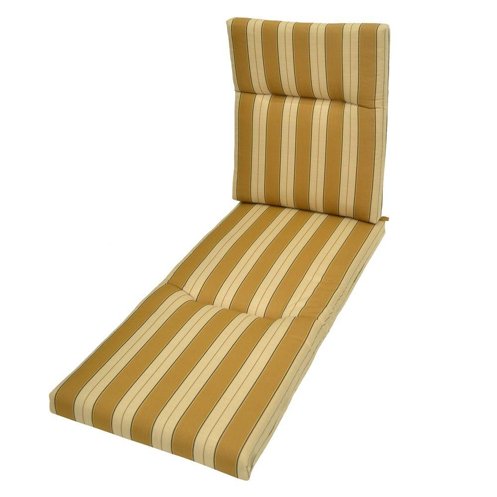 Plantation Patterns Wheat Stripe Outdoor Chaise Lounge Cushion-DISCONTINUED
