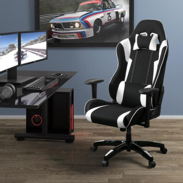 CorLiving Black and White High Back Ergonomic Office Gaming Chair with
