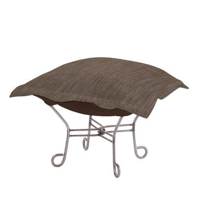 Scroll Puff Ottoman With Cover, Titanium Frame, Coco Slate