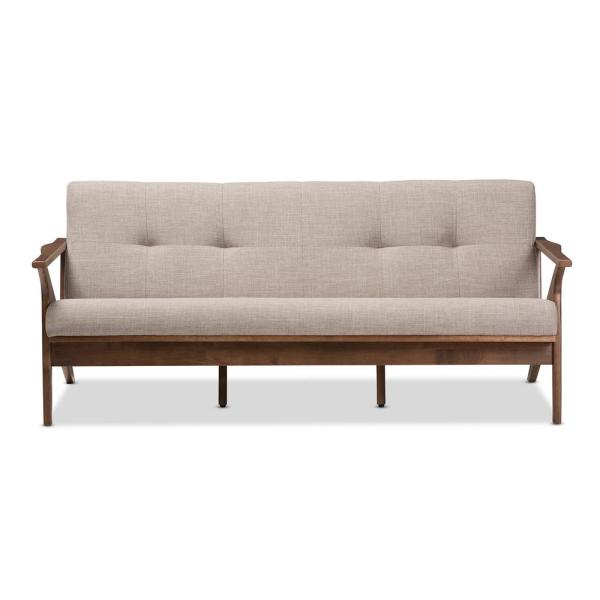 Baxton Studio Bianca Light Grey/Walnut Brown Fabric Sofa 28862-7550-HD