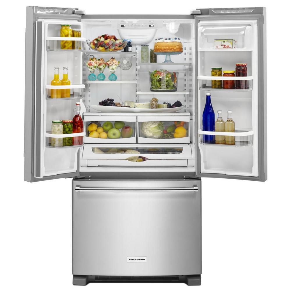 Kitchenaid 22 1 Cu Ft French Door Refrigerator In Black