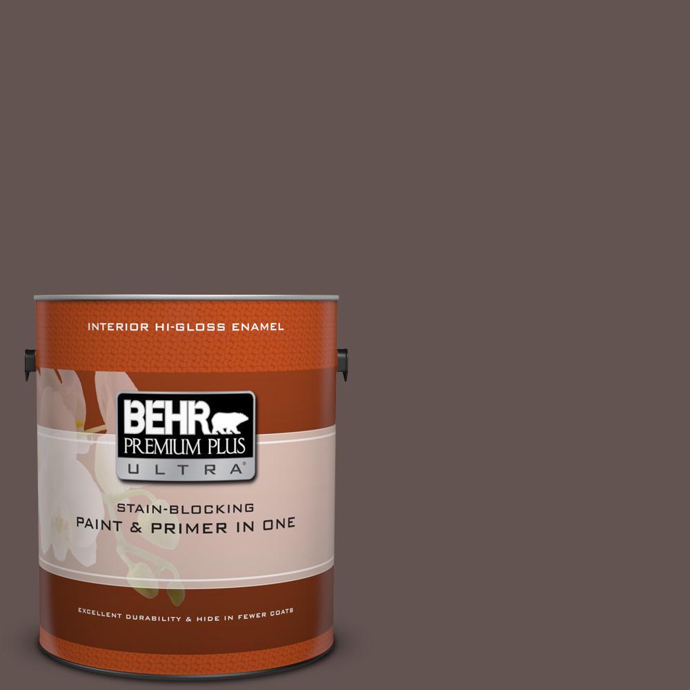 1 gal. #HDC-FL14-10 Pine Cone Brown Hi-Gloss Enamel Interior Paint
