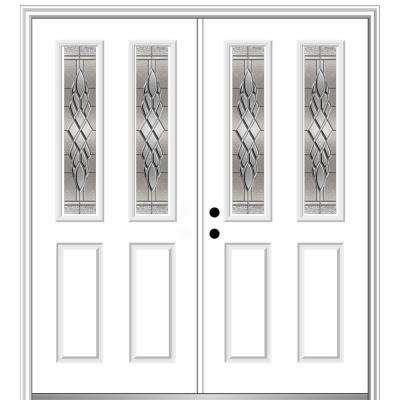 60 in. x 80 in. Grace Right-Hand Inswing 2-Lite 2-Panel Decorative Primed Steel Prehung Front Door on 4-9/16 in. Frame
