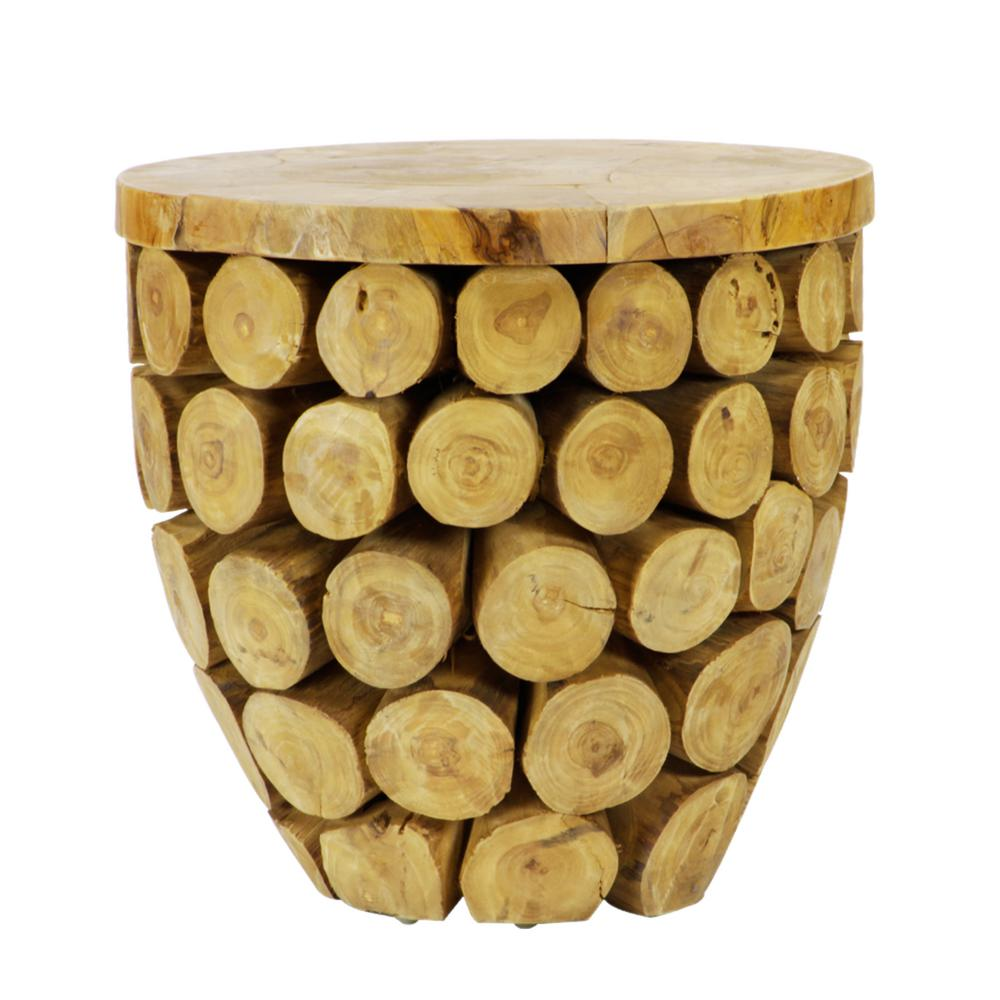 Lux Home Sumatra Solid Natural Teak Wood Round Deco Table