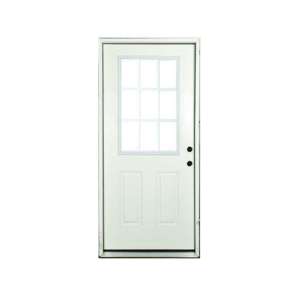 32 in. x 80 in. Premium Left-Hand White 9-Lite External Grille Primed Fiberglass Prehung Front Door