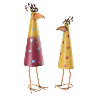 Comical Rooster and Hen Garden Statue