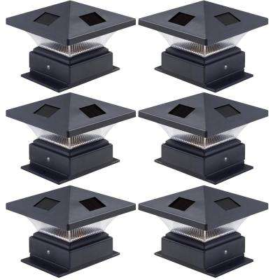 4 in. x 4 in. Pagoda II Solar Powered Integrated LED Black Plastic Post Cap Light for Nominal Wood Posts (6-Pack)