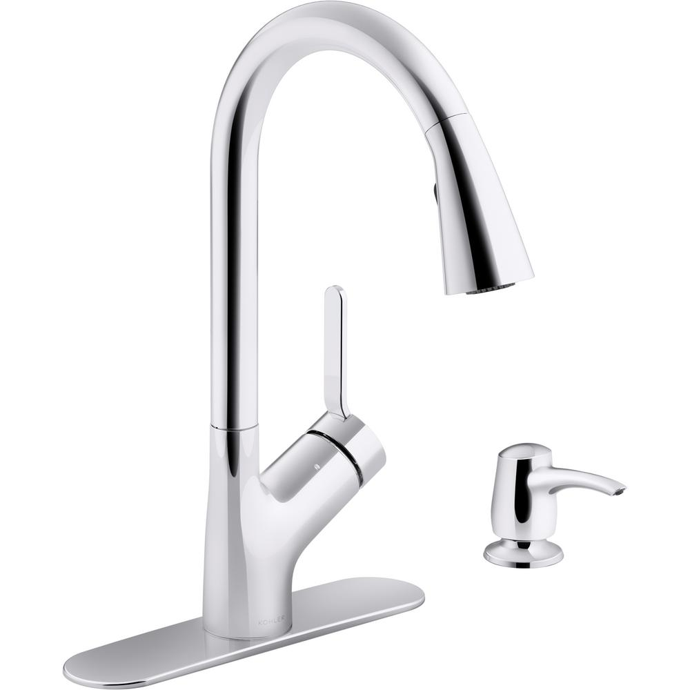 KOHLER KOHLER Setra Single-Handle Pull-Down Sprayer Kitchen Faucet with Konnect in Polished Chrome