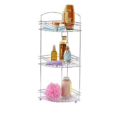 Ocean Wave Design 3-Tier Corner Bath Shelf in Glossy Chrome