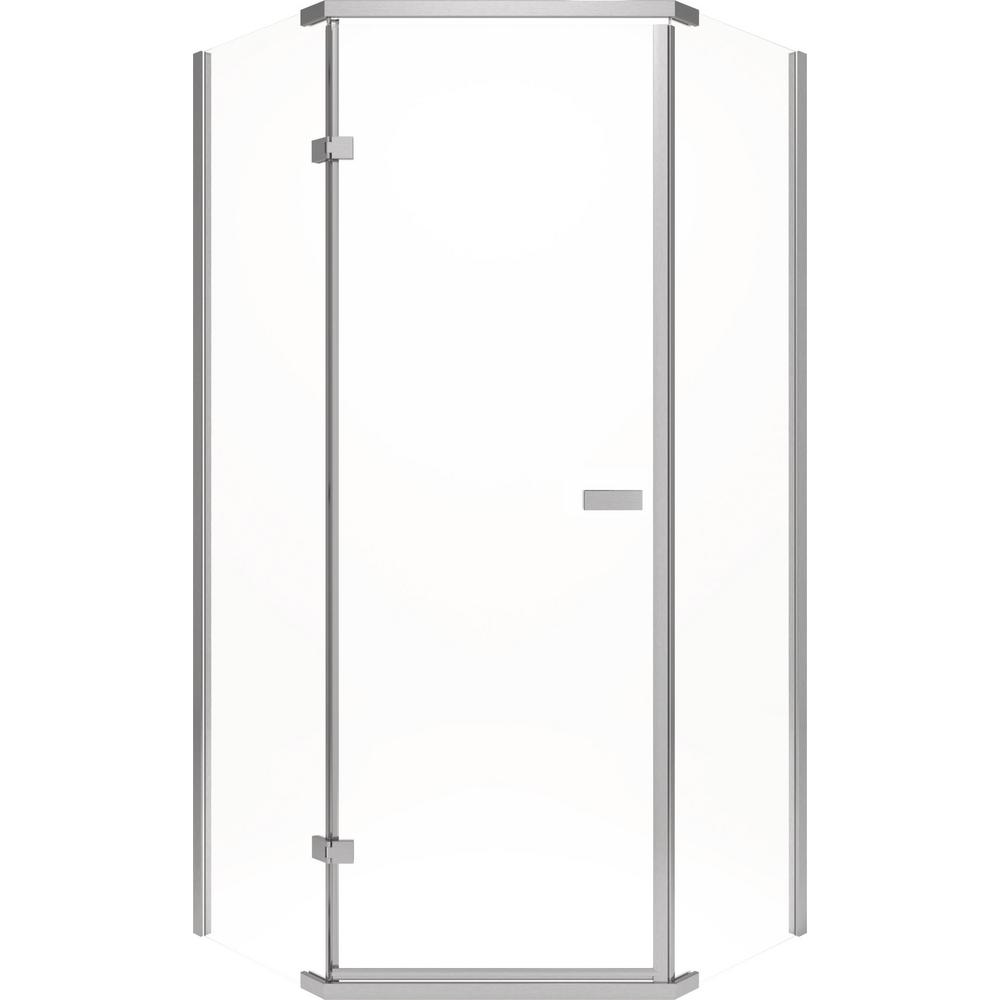 Delta 35-7/8 in. x 35-7/8 in. x 71-7/8 in. Semi-Frameless Hinged Neo-Angle Shower Enclosure in Chrome