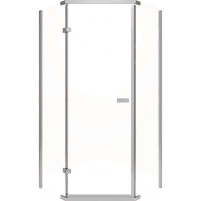 35-7/8 in. x 35-7/8 in. x 71-7/8 in. Semi-Frameless Hinged Neo-Angle Shower Enclosure in Stainless