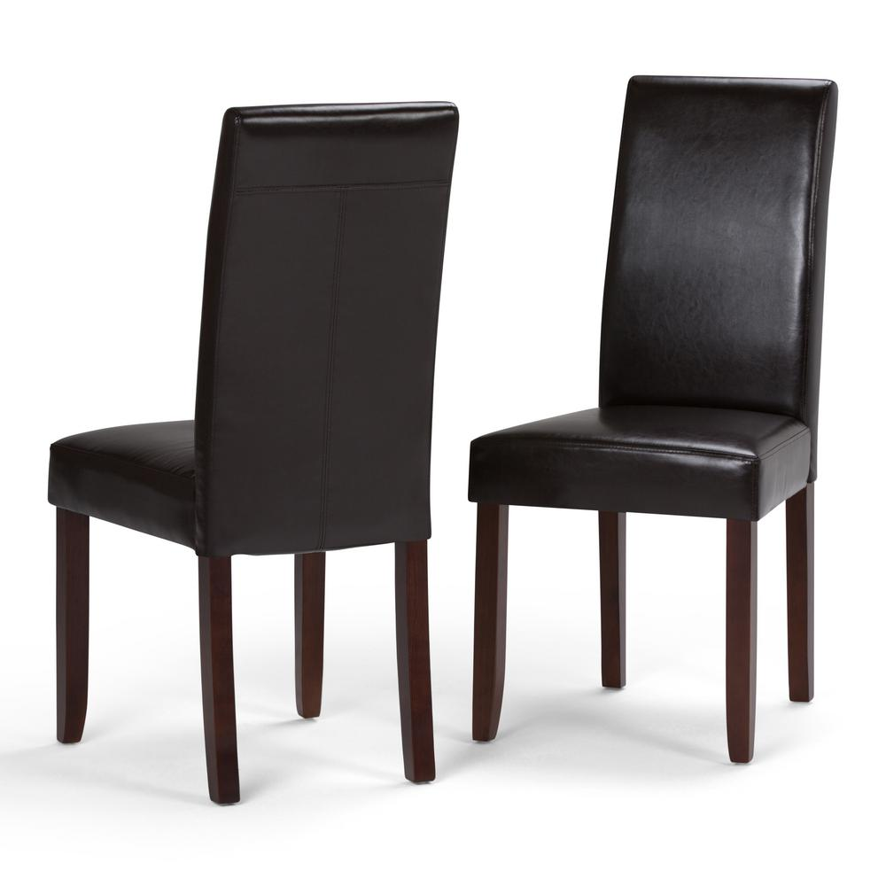 Simpli Home Acadian Tanners Brown Faux Leather Parsons Dining Chair (Set of 2)  sc 1 st  Home Depot & Simpli Home Acadian Tanners Brown Faux Leather Parsons Dining Chair ...