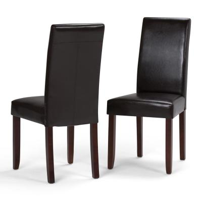 Acadian Contemporary Parson Dining Chair (Set of 2) in Tanners Brown Faux Leather