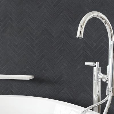 Manhattan Gray Herringbone 10 in. x 11 in. x 8 mm Honed Basalt Mosaic Wall/Floor Tile