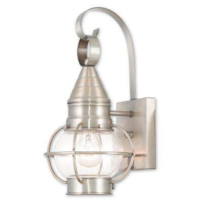 Newburyport 1-Light Brushed Nickel Outdoor Wall Mount Lantern