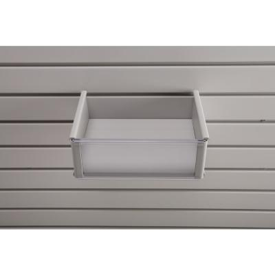 Plastic 8 in. x 10 in. Slat Wall Basket in Light Gray
