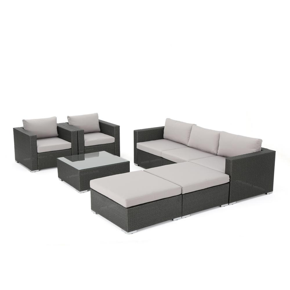 Noble House Santa Rosa Gray 8-Piece Wicker Patio Conversation Set with Silver Water-Resistant Cushions