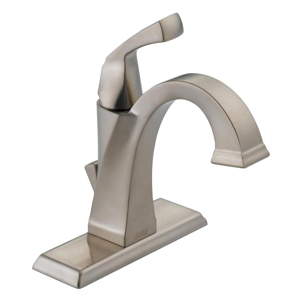 Delta Dryden Single Hole Single-Handle Bathroom Faucet with Metal Drain Assembly in Stainless